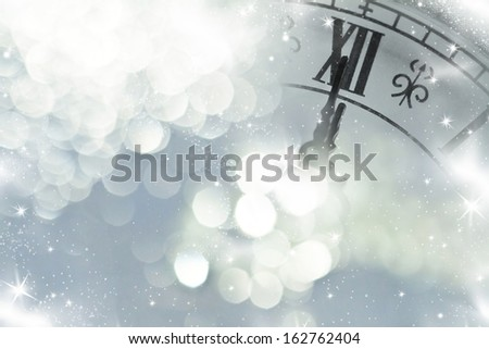 New Year's at midnight and holiday lights - stock photo