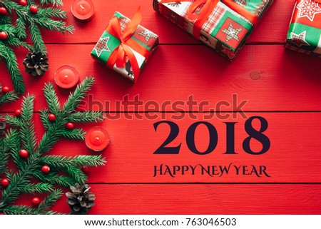 New Years Background On Red Desk Stock Photo Royalty Free