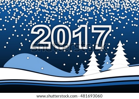 New Year's card and 2017 sign (done in 3d rendering)