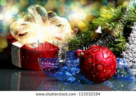 New Year's collage. Decorations and ribbons on a bright color background - stock photo
