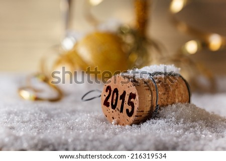 New Year's concept, Champagne cork new year's 2015 - stock photo