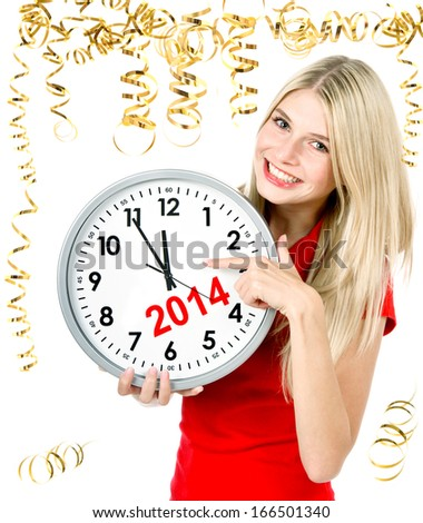 New Year's concept. five to twelve. young beautiful woman with big clock and party decoration - stock photo