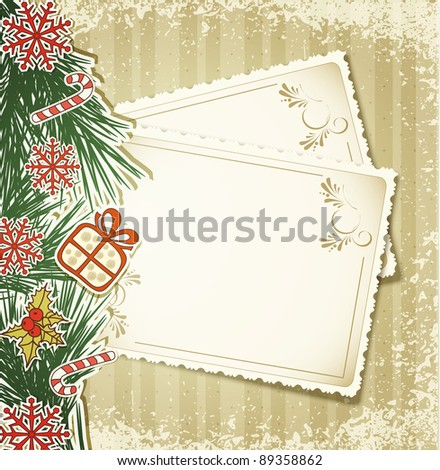 New Year's congratulatory background with vintage cards (JPEG version) - stock photo