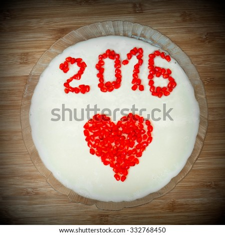 New Year's dessert (jelly) with an inscription 2016 - stock photo