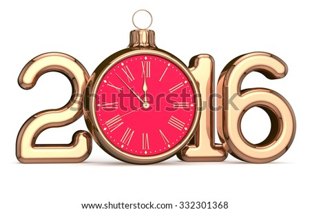 New 2016 Year's Eve alarm clock Christmas ball bauble decoration Xmas happy wintertime holidays midnight stylized future countdown timer calendar date design adornment traditional. 3d render isolated - stock photo