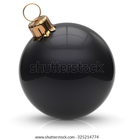 New Year's Eve Christmas ball bauble wintertime decoration black sphere hanging adornment classic. Traditional winter ornament happy holidays Merry Xmas event symbol glossy blank. 3d render isolated - stock photo