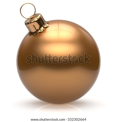 New Year's Eve Christmas ball bauble wintertime decoration golden sphere hanging adornment classic. Traditional winter ornament happy holidays Merry Xmas event symbol glossy blank. 3d render isolated - stock photo
