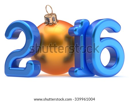 New Year's Eve 2016 Christmas ball Merry Xmas bauble decoration happy wintertime holidays stylized calendar date souvenir. Wintertime greeting card blue orange design element. 3d render isolated - stock photo