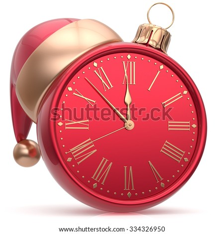 New Year's Eve clock Christmas ball Santa hat decoration bauble ornament red sparkly. Traditional wintertime holidays midnight hour countdown beginning time future symbol adornment. 3d render isolated - stock photo