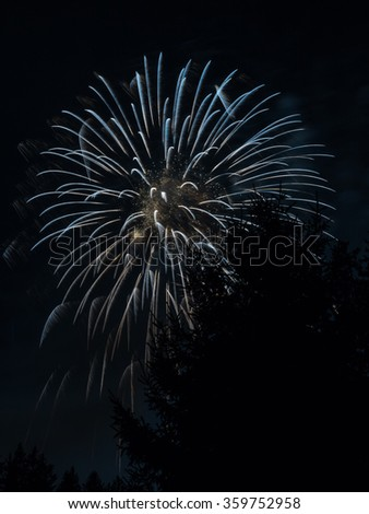 New Year's Eve colorful fireworks in the Swiss mountains - 11 - stock photo