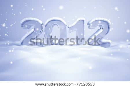 New Year's Eve 2012 - 3d rendered ice numbers - stock photo