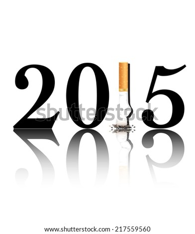 New Year's Eve, New Year's resolution Quit Smoking concept with the 1 in 2015 being replaced by a stubbed out cigarette.  - stock photo