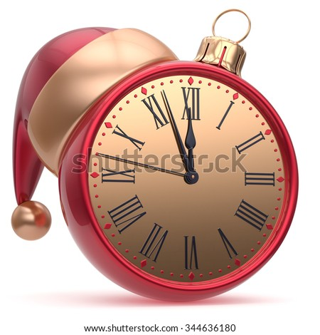 New Year's Eve time Christmas ball alarm clock Santa hat decoration bauble ornament red gold. Traditional wintertime holidays midnight countdown beginning future symbol adornment. 3d render isolated - stock photo