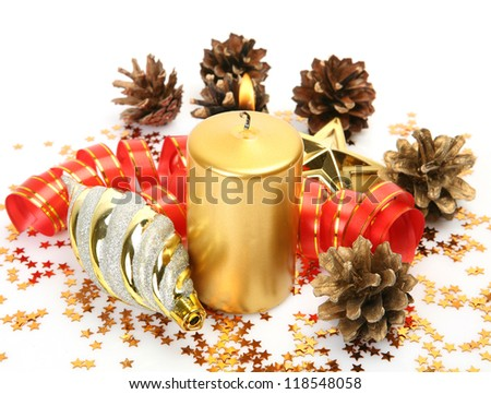 New Year's ornaments and candles