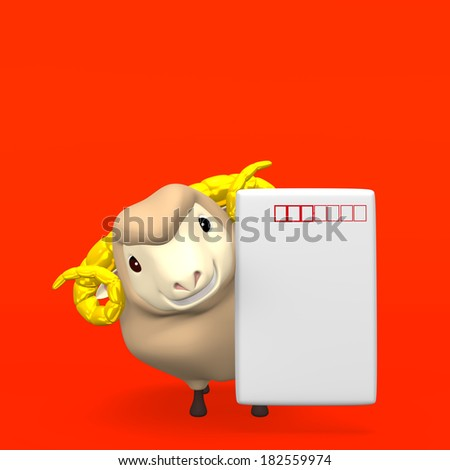 New Year's Post Card With Smile Sheep On Red Text Space. 3D render illustration For The Year Of The Sheep,2015. Isolated On Red.