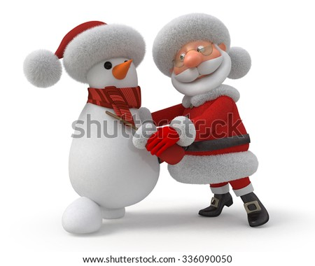 New Year's representation of two fairy tale characters/Santa Claus and snowman dance - stock photo