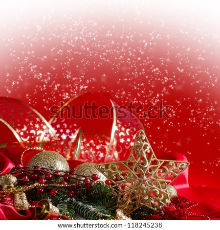 New Year's spheres on a red fabric - stock photo