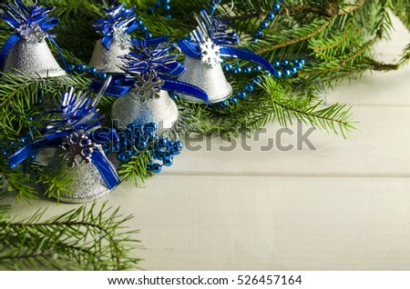 New Year's toys in blue and tree