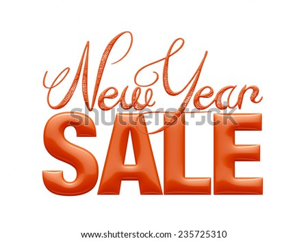New Year Sale 3d text Design in gold on white background - stock photo