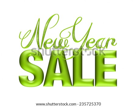 New Year Sale 3d text Design in green on white background - stock photo