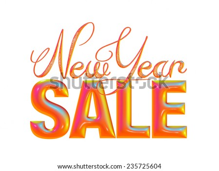 New Year Sale 3d text Design in mix red on white background - stock photo