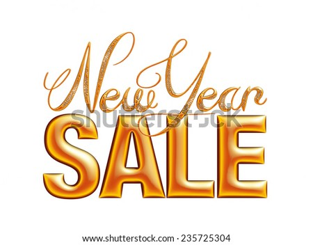 New Year Sale 3d text Design in mixed color on white background - stock photo