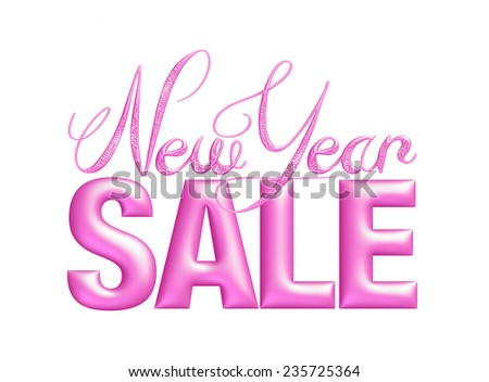 New Year Sale 3d text Design in purple on white background - stock photo