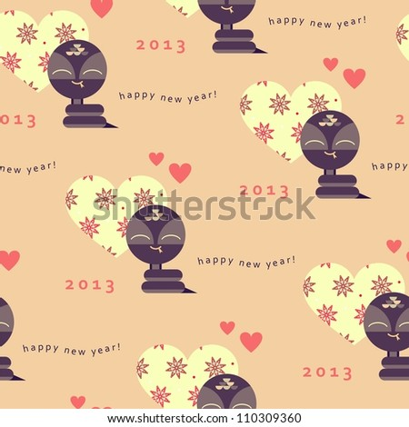 New year seamless pattern with snake (raster version) - stock photo