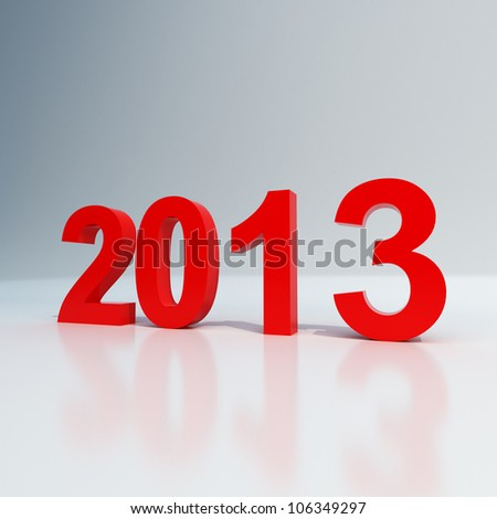 New year 2013 shiny red on white background