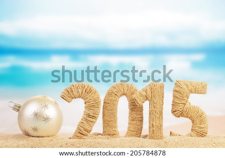 New year sign and christmas ball - stock photo