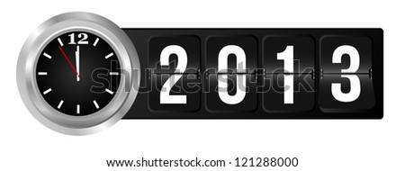 New Year 2013 Sign and Silver Cock in Airport Time Style - stock photo