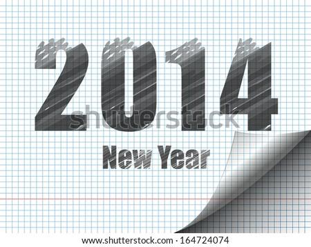 New Year sketching. Drawing on notebook sheet.Imitation of marker. Raster illustration - stock photo