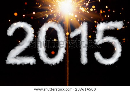 New Year 2015, smoke style digits with sparkler - stock photo