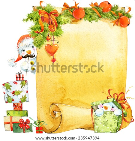 New Year snowman and Christmas Wish List . decorative background card for congratulations . watercolor painting. - stock photo