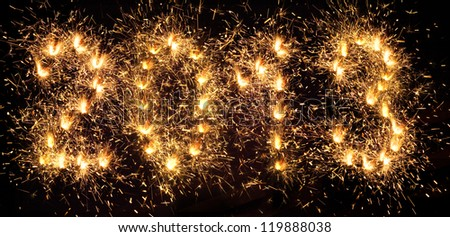 New Year 2013. Sparkling figures. - stock photo
