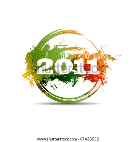 New year 2011 stamp. Raster version - stock photo