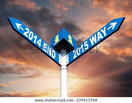 New Year. Street post with 2014 end and 2015 way signs - stock photo