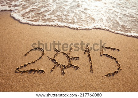 new year 2015, summer vacations on the beach - stock photo