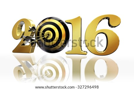 new year target golden number 2016 concept on white background, clipping path included - stock photo