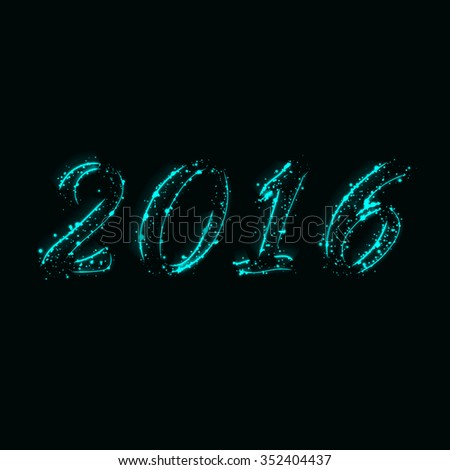 New year 2016 text design of aqua lights on dark background