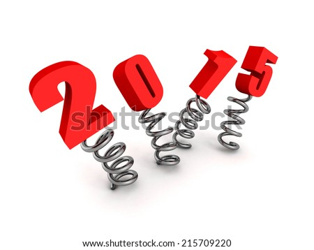 new year 2015 text jump on springs. 3d render illustration - stock photo