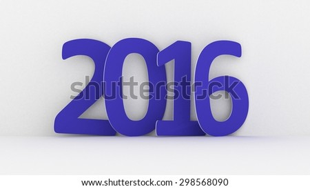 New year 2016 text on white background