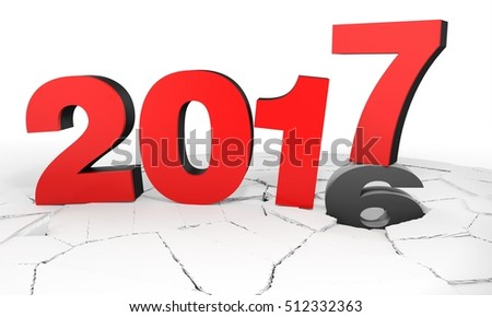 New Year 2017 text with cracked floor 3D illustration