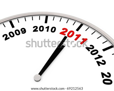 New Year 2011, the Years on a Clock