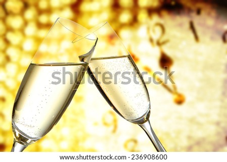 new year time of champagne  - stock photo
