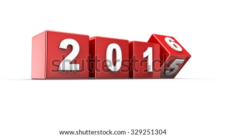 New year 2015 to 2016 concept in 3d - stock photo