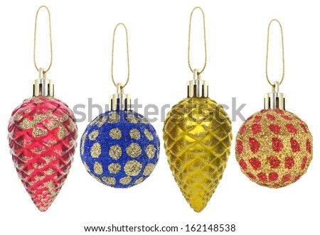 New year toys and decorations isolated on a white background. - stock photo