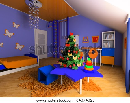 New Year tree in a children's room