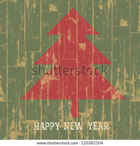 New year tree symbol with greetings on wooden planks texture. Raster version, vector file available in portfolio. - stock photo