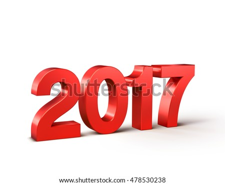 New Year 2017 type, colored in red and isolated on white - 3D illustration